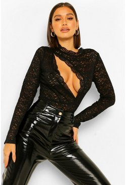 Black Slash Front Lace Bodysuit