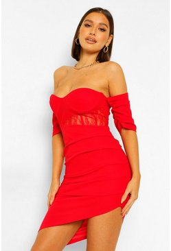 Red Drape Sleeve Corset Midi Dress