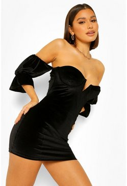 Black V Plunge Peplum Velvet Mini Dress