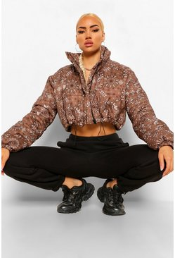 Chocolate brown Bandana Print Crop Puffer Jacket