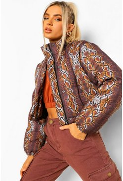 Chocolate Snake Print Crop Puffer Jacket