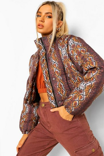 Chocolate brown Snake Print Crop Puffer Jacket