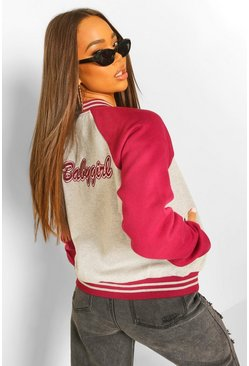 Grey Baby Girl Varsity Jacket