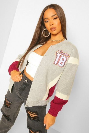 Grey Boston Varsity Jacket