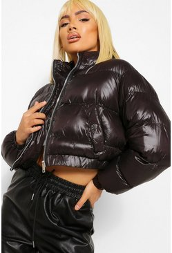 Black Crop High Shine Puffer