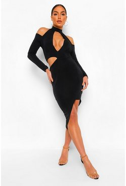 Black Textured Slinky Rouche Cut Out Midi Dress