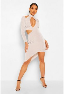 Silver Textured Slinky Rouche Cut Out Midi Dress