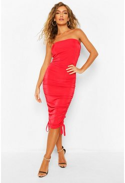 Red Textured Slinky Extreme Rouche Mini Dress