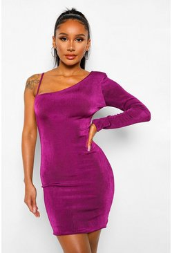 Plum purple Shoulder Pad Textured Slinky Lace Up Mini Dress