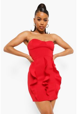 Red Bonded Scuba Extreme Ruffle Mini Dress