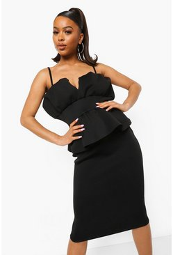 Black Bonded Scuba Peplum Detail Midi Dress