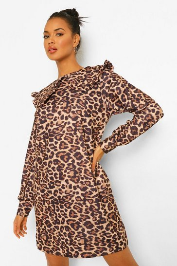 Tan brown Leopard Collar Detail Sweat Dress