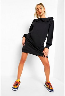 Black Collar Detail Sweatshirt Dress
