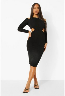 Black Textured Cut Out Waist Midaxi Dress