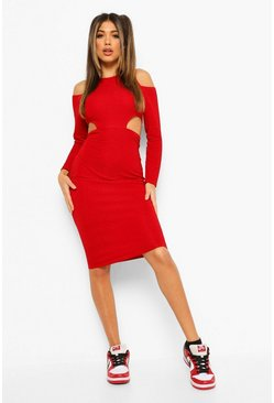 Red Textured Cut Out Waist Midaxi Dress
