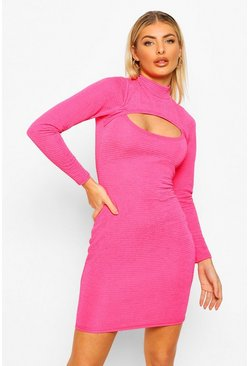 Hot pink pink Textured High Neck Cut Out Mini Dress