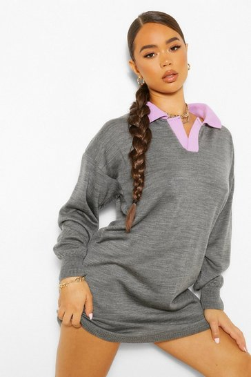 Grey Contrast Collar Rugby Jumper Dress