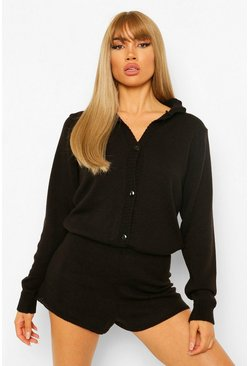 Black Knitted Slouchy Longsleeve Playsuit