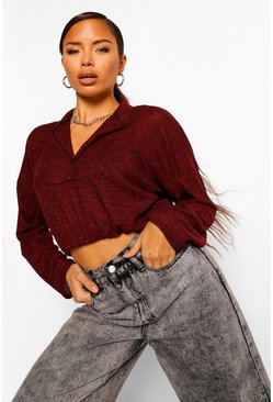 Wine Grandad Collar Knitted Oversized Top