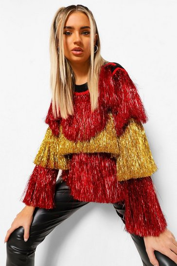 Red Ombre Tinsel Jumper
