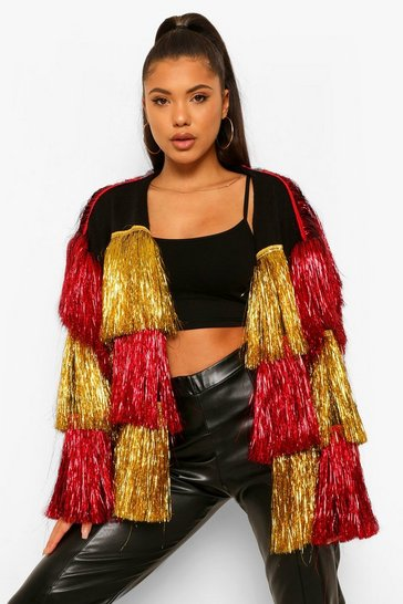 Red Ombre Tinsel Cardigan