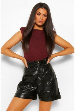 Chocolate Brushed Soft Knit Shoulder Pad Top