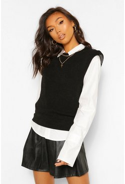 Black Textured Knit Shoulder Pad Top