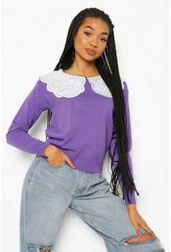 Plum purple 2 In 1 Woven Collar Sweater