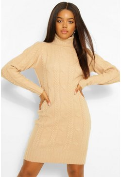 Camel Cable Knit Roll Neck Dress