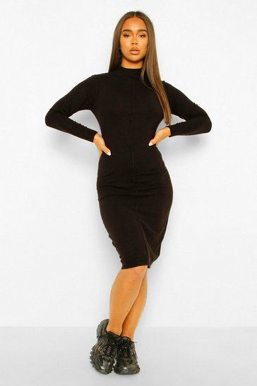 Black Knitted Seam Detail Dress