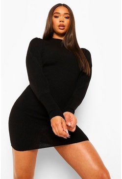 Black Balloon Sleeve Knitted Dress