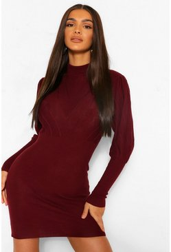 Wine Turtleneck Knitted Dress
