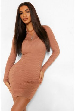 Caramel beige Zip Scallop Edge Knitted Dress