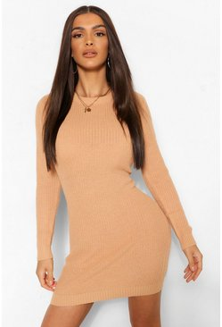 Camel beige Fisherman Knit Dress