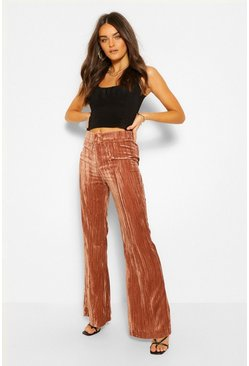 CRINKLE VELEVET FLARE TROUSER, Rust orange