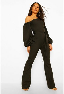 Black ASYMMETRIC CUT OUT VOLUME SLEEVE JUMPSUIT