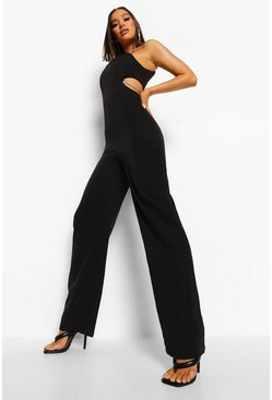 Black CUT OUT CHAIN STRAP WIDE LEG JUMPSUIT