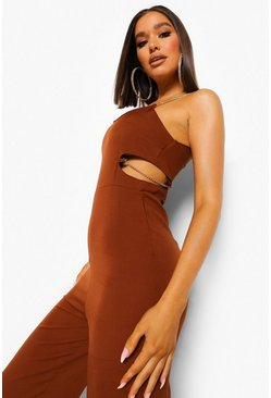 Chocolate brown CUT OUT CHAIN STRAP WIDE LEG JUMPSUIT
