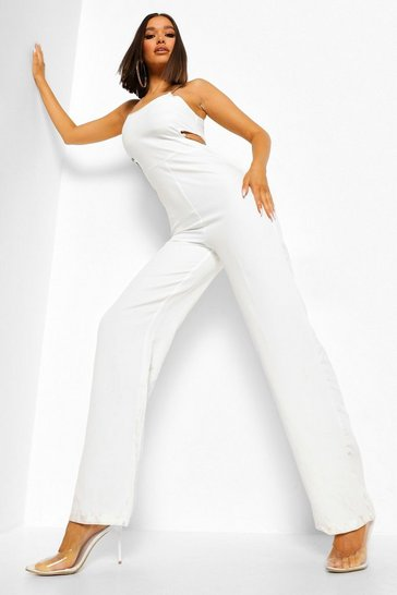 White CUT OUT CHAIN STRAP WIDE LEG JUMPSUIT