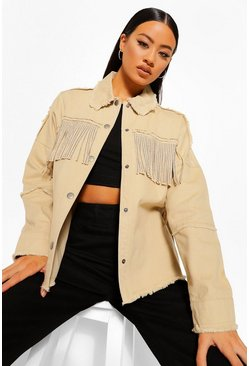 Stone beige Fringe Denim Jacket