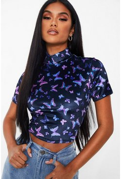 Black Butterfly Velvet Crop Top
