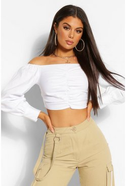 Ivory white Woven Stretch Ruched Off The Shoulder Crop Top
