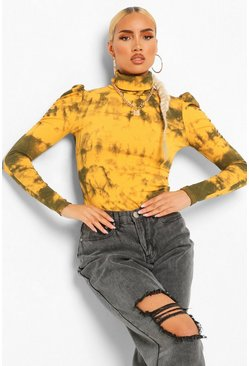 Mustard Tie Dye Roll Neck Puff Sleeve Top