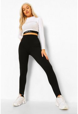 Black Cotton Elastane Stirrup Leggings