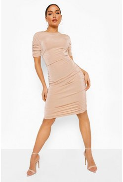 Textured Slinky Ruched Open Back Mini Dress, Stone beige