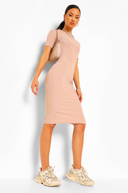 DRESSES Bandage Rib Ruched Open Back Midi Dress