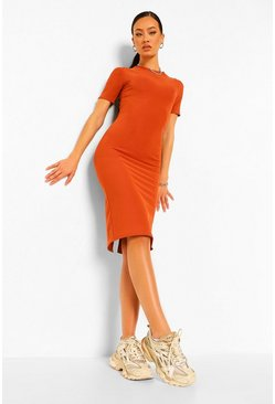 Terracotta orange Bandage Rib Ruched Open Back Midi Dress