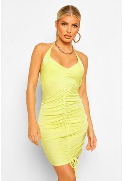 Lime green Textured Slinky Cross Detail Rouche Mini Dress