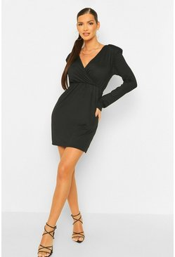 Black Rib Shoulder Pad Skater Dress