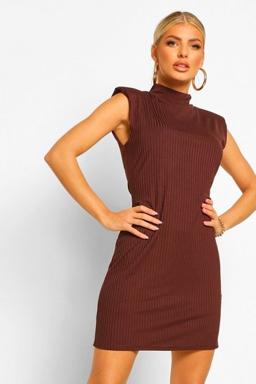 Chocolate brown Rib Shoulder Pad High Neck Shift Dress